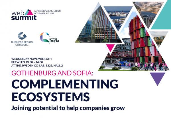 """Панелна дискусия """"София и Гьотеборг: допълващи се екосистеми"""" по време на Web Summit 2019 - най-голямото технологично събитие в Европа"""